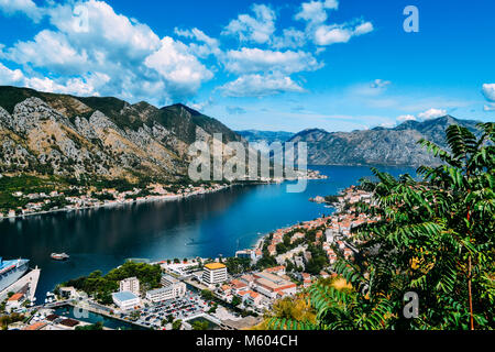 View from the mountain to the bay of Kotor, Montenegro - Stock Photo