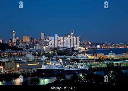 WA13738-00...WASHINGTON - View of the docks, waterfront, Space Needle and downtown highrises from the Magnolia Bridge - Stock Photo