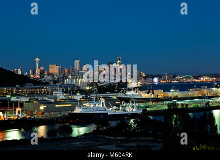 WA13739-00...WASHINGTON - View of the docks, waterfront, Space Needle and downtown highrises from the Magnolia Bridge - Stock Photo
