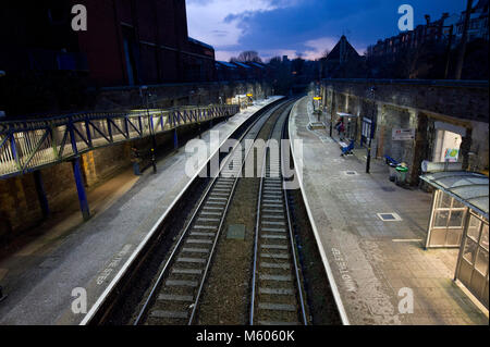 Clifton Down railway station, Bristol, showing commuters in rush hour - Stock Photo