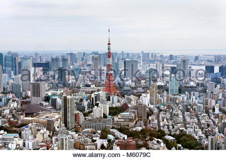 aerial cityscape view towards Tokyo Tower and the Minato district from the direction of Roppongi Hills - Stock Photo