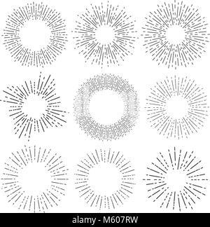Set of six vintage sunburst, sun rays, sunbeams, vector design elements for your design - Stock Photo