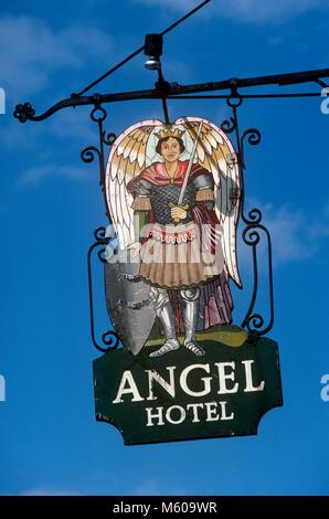 UK, England, Yorkshire, York, Pub Signs, the Angel Hotel - Stock Photo