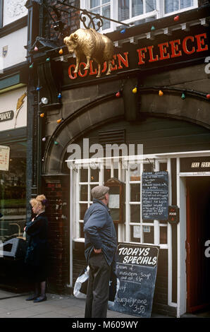 UK, England, Yorkshire, York, 16 Pavement, The Golden Fleece, hanging sheep pub sign in 1990s - Stock Photo