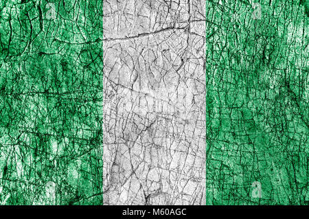Grudge stone painted  Nigeria flag - Stock Photo