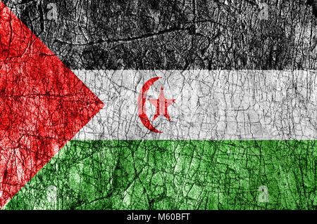 Grudge stone painted Sahrawi Arab Democratic Republic flag - Stock Photo