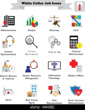 Vector Illustration Ready-To-Use 16 Colorful White Collar Job Flat Icons Designed as Multiple Professions Involved - Stock Photo