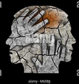 Schizophrenia male head silhouette. Man holding his head.Photo-montage with Dry cracked earth symbolizing schizophrenia - Stock Photo