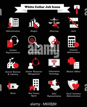 Vector Illustration Ready-To-Use 16 White Collar Job - White And Red Flat Icons As Multiple Professions Involved - Stock Photo