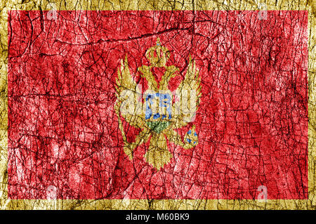 Grudge stone painted  Montenegro flag - Stock Photo