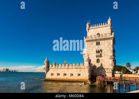 The iconic quarter facade of the Tower of Belem (Torre de So Vicente)  on the bank of the Tagus River. - Stock Photo