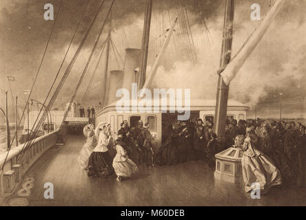 Sultan Abdülaziz being Knighted by Queen Victoria, on board the Royal yacht, HMY Victoria and Albert, 17 July 1867, - Stock Photo