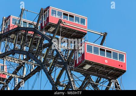 The Wiener Riesenrad Ferris wheel at Prater amusement park, Leopoldstadt, Vienna, Austria - Stock Photo