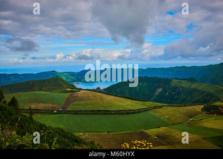 green hills with view to Sete Cidades on São Miguel, Azores - Stock Photo