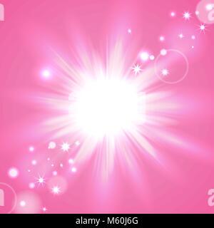 Pink flash starburst background with sparkles, vector illustration - Stock Photo