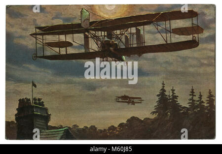 Old German postcard 'night flight of the British military aviation unit' Biplane over pine trees in the sky. The - Stock Photo