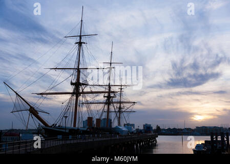 HMS Warrior, at sunset in winter. Portsmouth Historic Dockyard / Historical Dockyards. UK. (95) - Stock Photo