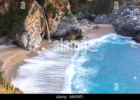 McWay Falls Scenic Waterfall Landscape View on Big Sur Coast in Central California, Julia Pfeiffer Burns State Park - Stock Photo