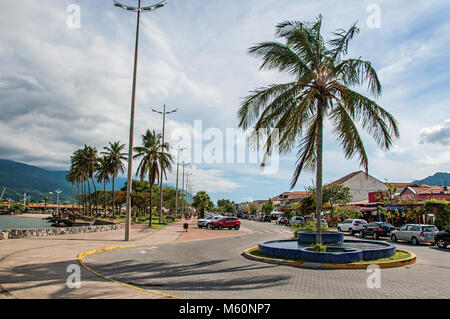 São Sebastião, Brazil. View of street and promenade in São Sebastião, a nice seaside town with several tropical - Stock Photo