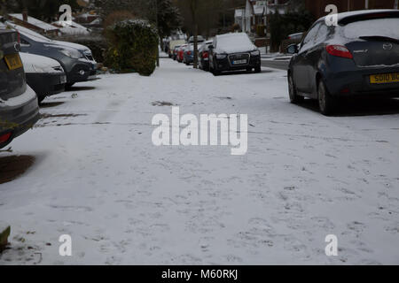 Biggin Hill. 27th Feb, 2018. UK Weather: As the Beast from the East arrives in Great Britain there is heavy snowfall - Stock Photo
