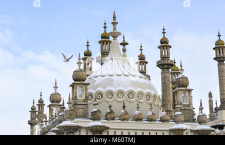 Brighton, UK. 27th Feb, 2018. Snow on top of the Royal Pavilion in Brighton today as the 'Beast of the East' snow - Stock Photo