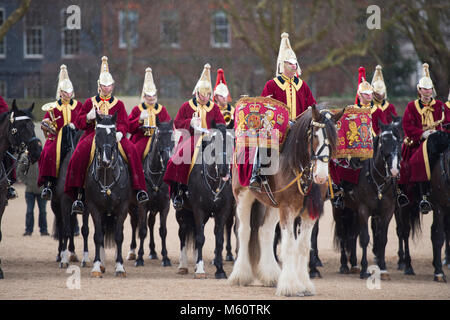 Horse Guards Parade, London, UK. 27 February 2018. The Household Cavalry Band with Drum Horses accompany Life Guards - Stock Photo