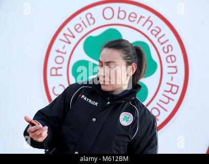 20 February 2018, Germany, Oberhausen: Duygu Erdogan, assistant coach of soccer club Rot-Weiss Oberhausen. 29-year - Stock Photo