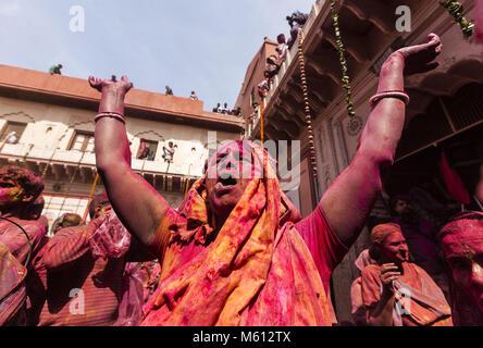February 27, 2018 - Headline : Indian Widows Played Holi 2018.Caption : February 27, 2018 - Brindavan, Uttar Pradesh, - Stock Photo