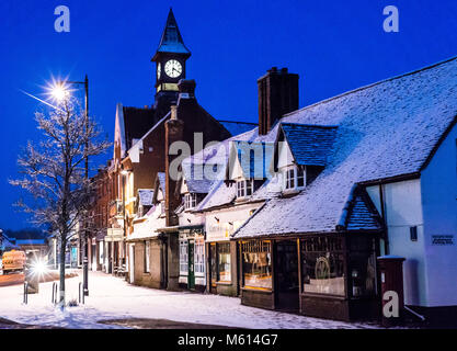 Fordingbridge High Street, New Forest, Hampshire, UK, 27th February 2018, Weather: Picturesque Christmas card scene - Stock Photo
