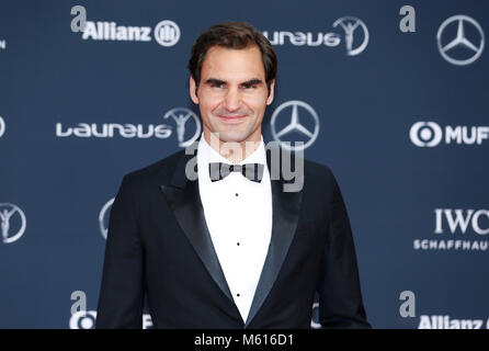 Monaco. 27th Feb, 2018. Swiss tennis player Roger Federer arrives at the 2018 Laureus World Sports Awards in Monaco, - Stock Photo