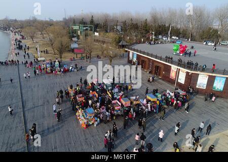 February 17, 2018 - Huai'An, Huai'an, China - Huai'an, CHINA-17th February 2018: Aerial photography of Hongze Lake - Stock Photo