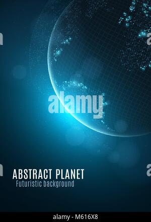 Abstract planet earth. Glowing map of small square dots. Futuristic background. Space composition. Blue sunrise. - Stock Photo