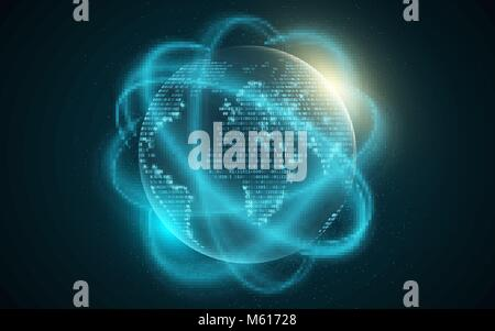 World map from binary code. Abstract planet earth. Blurred lines move. Futuristic background. Computer programming - Stock Photo