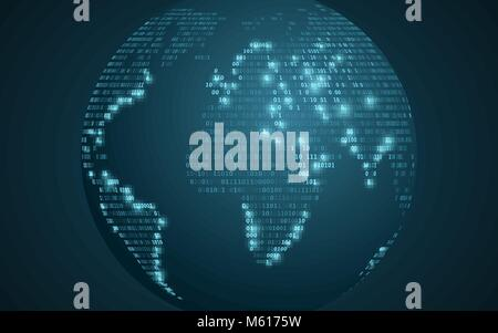World map from binary code. Abstract planet earth. Futuristic background. Computer programming code. Global network. - Stock Photo