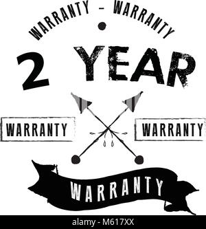2 years warranty icon vintage rubber stamp guarantee - Stock Photo