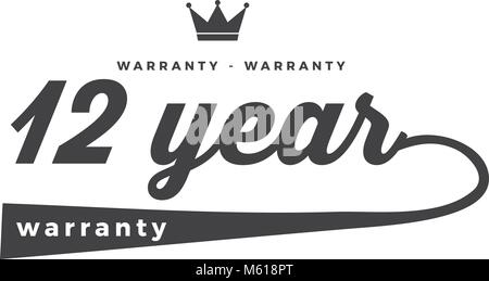 12 years warranty icon vintage rubber stamp guarantee - Stock Photo