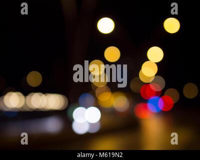 camera bokeh effect and lights - Stock Photo