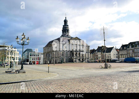The Maastricht city hall is a classic style located on the Markt in the center of Maastricht, build in 1659-1664 - Stock Photo