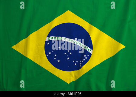 Brazil flag blowing in the wind. - Stock Photo