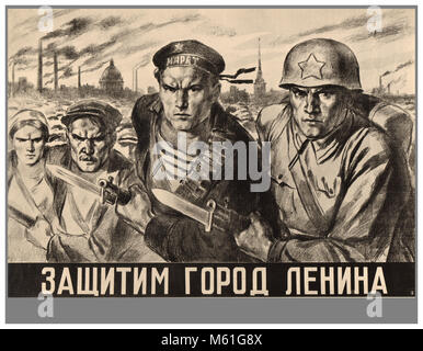 "Vintage WW2 Soviet Propaganda Poster ""We will defend the city of Lenin"" (Leningrad) Illustrating the Soviet Military - Stock Photo"