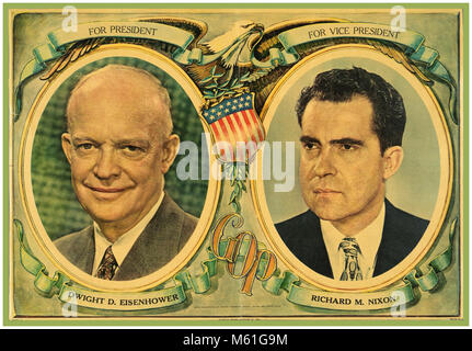 1950's VINTAGE USA AMERICAN PRESIDENTIAL CAMPAIGN POSTER 1952 EISENHOWER NIXON The United States presidential election - Stock Photo