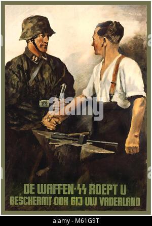 "WW2 Nazi Germany Waffen SS 1940's Dutch Recruitment Propaganda Poster ""The Waffen-SS is calling for you: do you - Stock Photo"