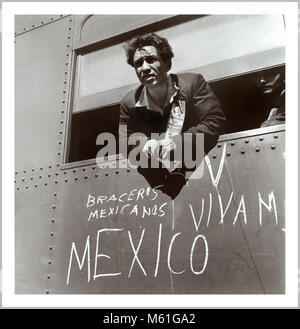 World War II Homefront Era 1940s Mexican immigrant entering the USA.  A Mexican worker arrives in USA during the - Stock Photo