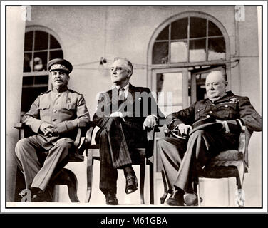 Historic WW2 Tehran Conference (codenamed Eureka) a strategic meeting of leaders Joseph Stalin, Franklin D. Roosevelt, - Stock Photo