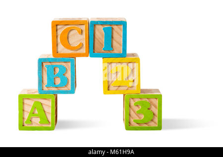 Letter and number blocks stacked on white background - Stock Photo