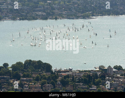 Yachts and boats on lake of Zurich top view from Uetliberg in Zurich, Switzerland - Stock Photo