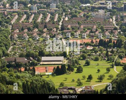 Top view of Zurich from Uetliberg, Switzerland. Zurich suburbs overlook from Uetliberg - Stock Photo