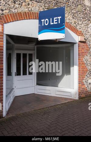 Empty Shop to let in Salisbury Wiltshire - Stock Photo