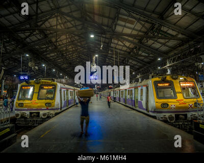 Mumbai, India - February 18,2018: Unidentified people inside Chhatrapati Shivaji Terminus on Febuary 18, 2018 in Mumbai, India Stock Photo