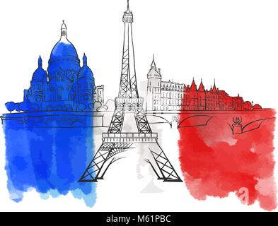 Paris France Colorful Landmark Banner. Beautiful hand drawn vector sketch. Travel illustration for social media - Stock Photo